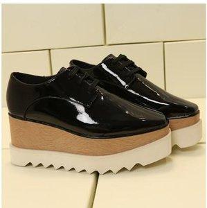 2019 Hot Sale! Stella Mccartney Women Star Platform Shoes Top Quality Calfskin Genuine Leather 7cm Wedge Oxfords Elyse Sneakers mn012