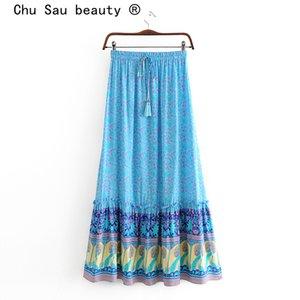 Chu Sau bellezza di nuovo modo di Boho Chic Vintage stampa floreale del pannello esterno lungo delle donne vacanze elastico Vita cotone Gonne femminile Beachwear