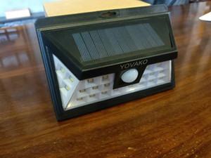 YOVAKO أضواء الشمسية استشعار الحركة تعمل بالطاقة الشمسية الضوء - الإضاءة 24 LED في الهواء الطلق الأمن للشرفة مغطاة، حديقة، ممر