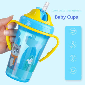 3 COLORS Baby Learning Drinking Cup With Double Handle Flip lid Leakproof Feeding Drinking Magic Cup Infants Water Cups Bottle