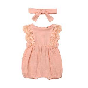 Fashion Newborn Baby Girls Ruffle Sleeveless Romper Jumpsuit Headband Outfit