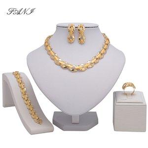 Fani Fashion Africano Set di Gioielli Design Cliente Nigeriano Gioielli Da Sposa Dubai Colore Oro Set di Gioielli di Marca Accessorize Nuziale Y19051302