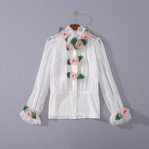 Holiday beach sale summer ins wholesale runway new hot Lace collar Long sleeves 3D Floral Mesh Button sexy Women's Blouses