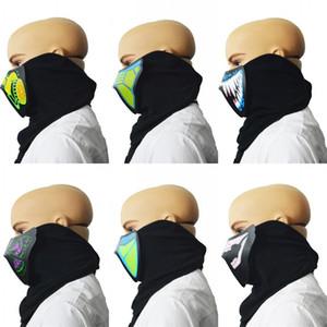 Blau grün licht gesicht haube farbe lumineszenz schallschutz maske mann frau festivals verschiedene stile masken neue ankunft 25ha l1
