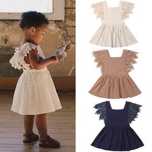 abito manica fly Lace ragazze bambino INS abiti della principessa dei bambini estate 2020 boutique di moda bambini abbigliamento 3 colori C5911