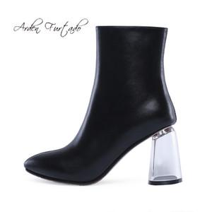 Arden Furtado moda calçados femininos no inverno 2019 botas femininas dedo apontado cor pura branco saltos grossos zíper botas curtas