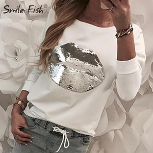 Casual Sequined Lip Patchwork Harajuku Pullover Tops Women White Tee Shirt 2020 Femme Long Sleeve O-neck Jumper Streetwear G1113 CX200622