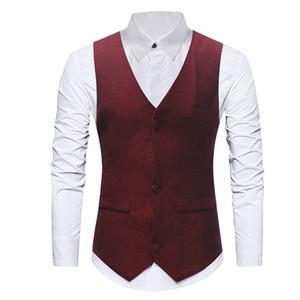 solid Waistcoat men suit Vest Wedding Business Formal vest waist coat for men chalecos para hombre d91026