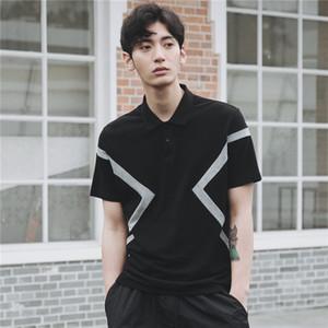 Manga para hombre del color del contraste del Polo cortocircuito del verano de la solapa del cuello remiendo Casual Male Polos tapa floja