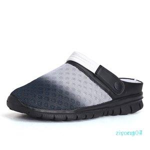 Мужская летняя обувь Slip-on сандалии большой размер 36-46 дышащая легкая мужская пляжная обувь повседневные тапочки z07