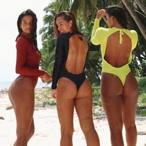 Uzun Kollu Tek parça mayo Yılan Baskı Mayo Kadınlar Seksi Kırmızı Bodysuits 2020 Plus Size Mayo parça bikini Beachwear 2XL