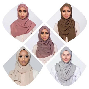 Bolha Chiffon Mulheres muçulmano Hijab Cachecol Xaile Enrole contínuo liso Cores Alta Qualidade Chiffon bolha Turban LJJJ139
