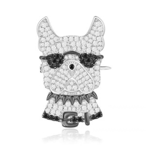 Hop marque 925 bijoux en argent sterling noir broche Doggy mignon cz chien broche yao chen collection mode bijoux monaco
