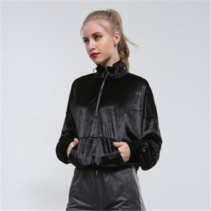 2020 New Fall And Winter Pullover Female Fashion Stand collar Solid color Velvet Zipper Pocket Street style Women Tops All-match