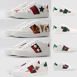 Zapatos de lujo de la ECA para los hombres Mujeres Triple Negro Blanco zapatillas de deporte de la estrella amantes de la abeja Diseñador Pisos Skate Zapatos Casual Luxe vendimia del vestido de boda del zapato