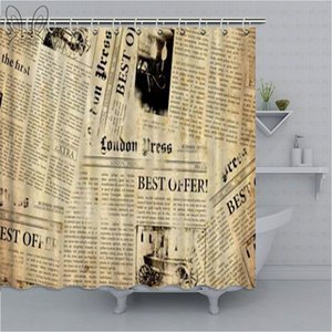 Fashionable Retro Vintage Newspaper Shower Curtains Bathroom Curtain Cool Old Newspaper Bath Curtain High Quality Waterproof