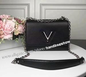 Borsa calda del cuoio genuino Vendita delle donne 2020 delle donne V una chiusura a scatto borsa nera tracolla pochette Twist Bag Lady Borsello 50282