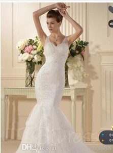 Trumpet Mermaid Spaghetti Straps Embroidery Wedding Dress