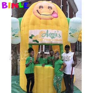 stand portátil feliz inflable limonada con los brazos, soporte de limón inflable, inflable concesión tentfor venta