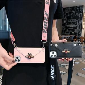 Новый роскошный дизайнерский пчелиный бумажник талреп Crossbody чехол для телефона iPhone 11Pro XS Max XR 7 8 Plus кожаный слот для карт памяти с плечевым ремнем крышка