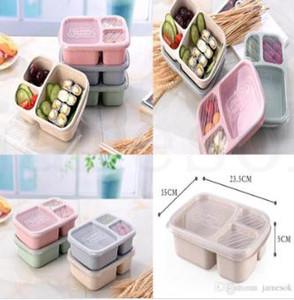 Studenten-Lunchbox 3 Gitter Weizen-Stroh biologisch abbaubare Mikrowelle Bento-Box Kinder Lebensmittelaufbewahrungsbox Schulnahrungsmittelbehälter mit Deckel DC695