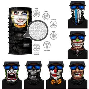 3D Skull Printing Outdoor Bicycle Half Face Masks Designer Cycling Bandanas Scarf Headband Seamless Headwear Face Mask
