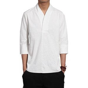 2019 hommes solide style chinois tshirts mens harajuku coton lin tshirt mâle mode blanc t-shirt à manches courtes surdimensionné
