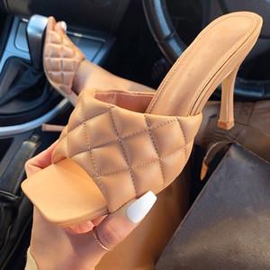Summer Women Slippers Ladies PU Plaid Thin High Heels Ladies Slippers Female Fashion Gingham Slides Shoes Woman Footwaer Mujer
