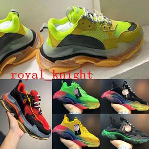 2020 Diseñador 17FW Triple zapatos ocasionales de s de los hombres de la vendimia verde Plataforma de la zapatilla de deporte de las mujeres zapatos planos del cuero top con cordones de lujo con Clear Sole