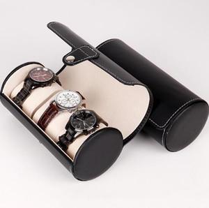 PU кожаный 3-позиционный цилиндр часы коробка высокого класса дисплей коллекции ювелирных часов упаковочной коробки