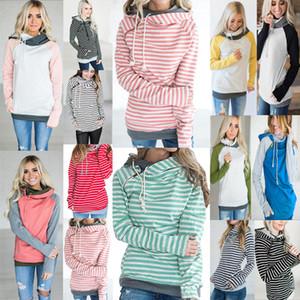 الفتيات هوديس المرقعة جيب مقنع معطف المرأة مقلم كم بلوزات طويلة زيبر البلوز هوديي معطف Outerwe LJJA3624