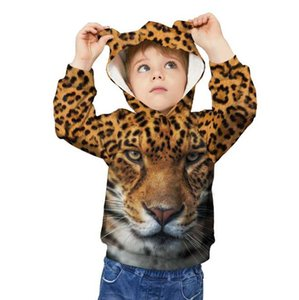 2020 Autumn And Winter 3d Cat Digital Printing Children's Clothing Long-sleeved Ear Hat Sweater Loose Children's Shirt Wholesale