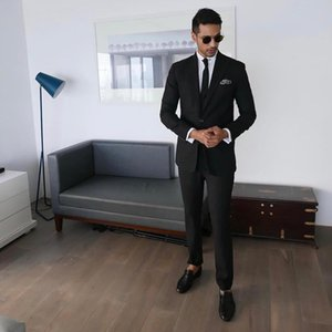 Black Slim Fit Mens Prom Suits Peaked Lapel Wedding Suits For Men Tuxedos Two Pieces Blazers Jacket And Pants