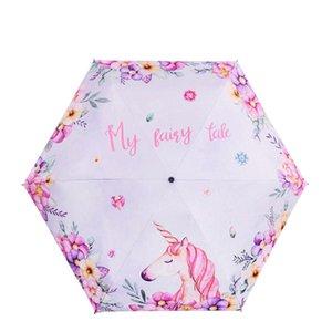 Streifen 5 Folds Mini Magic Einhorn-Regenbogen Regenschirme Sonnenschirm Portable für Kinder Frauen Folding Umbrella-Reisen