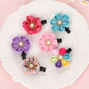 لون عشوائي!! 6Pcs / Set Cherry Flower Kids Baby Girl Hair Pins Cartoon Clips Barrette Headwear Head Styl Tools