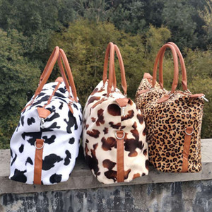 Leopard Cow Weekend Handbag Large Capacity Travel Tote Handle Sports Yoga Totes Storage Maternity Bag Fur Weekend Bags 17Inch RRA3164