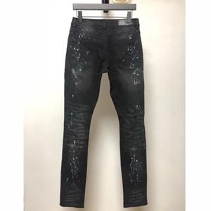 패션 - AM1R1 튀는 잉크 구멍 블랙 진 바지 스웨트 팬츠 Highstreet 힙합 바지 영 캐주얼 데님 바지 HFLSKZ139