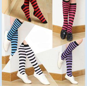 Ginocchio a strisce Alti calzini per grande Girls Adult stile giapponese a metà coscia Calzini Primavera calcio calze 8 colori per il Natale Halloween