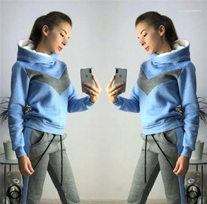 Long Sleeve Hooded Sweatshirts Ladies Two Piece Sets Female Clothing Winter Panelled Womens 2PCS Sports Sets