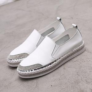 Yu Kube echtes Leder Loafers Schuhe 2019 Kristall Turnschuhe Ballerina Frau Flats Damen weiß Driving Schuhe zapatos de mujer
