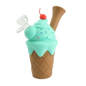 Ice Cream Cone Bubbler Силикон Трубки курительные Dab Oil Rig кальян Кальян Бонг со стеклом Боул