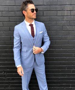 2019 New Fashion Light Blue Linen Groom Tuxedos Peak Lapel Groomsmen Suits Man Jacket Blazer 3 Piece Suit (Jacket+Pants+Vest)