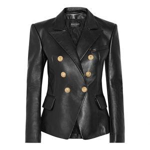 Balmain Kadın Ceket Balmain Kadın Giyim Siyah Deri Ceket Kadınlar Stilist Ceketler Yüksek Kalite Boyut S-XL
