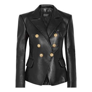 Giacca Balmain donne Leather Jacket Balmain donne vestiti Black Women Stylist rivestimenti di alta qualità formato S-XL