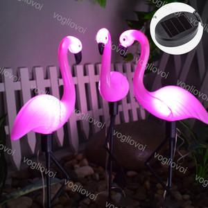 Güneş Bahçe Işık Pembe Flamingo 6500K Açık IP65 ABS İçin Yol Courtyard Garden Çim Peyzaj DHL