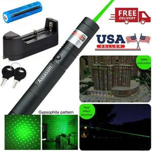 100Mile vendita calda che brucia verde della penna del laser potente 1mw 532nm militare 2in1 insegnamento divertente verde del laser di protezione della stella + 18650 Battery +