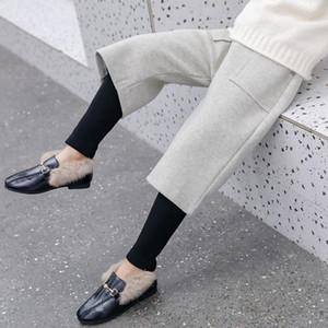 HziriP Новый 2020 Зима FakeTwo частей Шерстяной Wide Leg Pant Девушки Теплые студент Сыпучие штаны Твердые Карманы Детские брюки