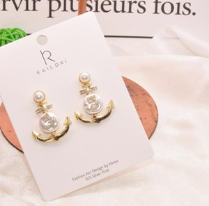 Manera- alfiler de plata retro sentido irregulares diamante perla pendientes de anclaje de forma irregular atmosféricas pendientes de diamantes de imitación digitales