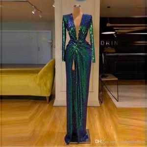 2020 New Green lantejoulas Prom Vestidos mangas compridas profundo decote em V Frente Dividir Vestido Cocktail Party vestidos de cor única Sem descoloração