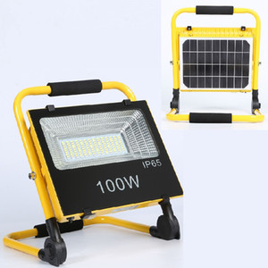 50W 100W Solar Lamps Flood Light Portable Integrated Solar & Rechargeable Folding Camping Emergency Work lamp Outdoor Flash Warning light